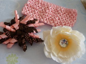 Boutique Hair Bow Set - Cream Peony/Pink and Brown Korker