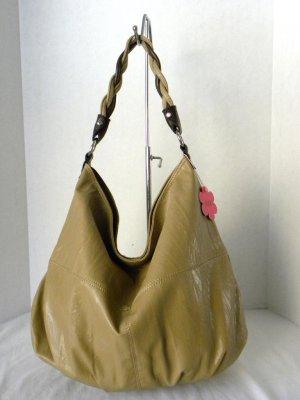 Beige/Brown TWINE STRAP Hobo Slouchy Shoulder Handbag