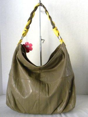 Taupe/Yellow TWINE STRAP Hobo Slouchy Shoulder Handbag