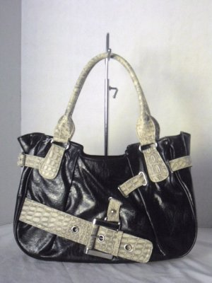 Black SNAKESKIN / PYTHON EMBOSSED Belted Tote Hobo Shoulder Bag