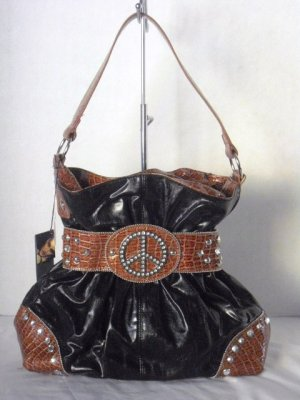 Black/Brown Croc Gathered Belt PEACE Studs Shoulder Bag