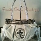 Cream/Pewter Fleur de Lis Rhinestone Bling Satchel Shoulder Tote HandBag Purse