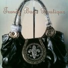 NOT IN STOCK ~ Black Fleur de Lis Rhinestones BLING Shoulder Tote HandBag Purse