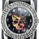SKULL Watch Blue Rose/Blood Vile Black Leather Band