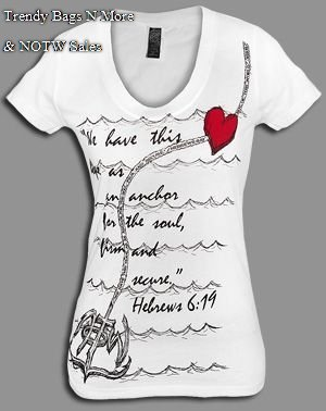 "NOTW White Christian ""ANCHORED"" Juniors or Woman T-Shirt Med or Lrg"