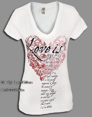 "NOTW White ""LOVE IS"" Christian V-Neck Juniors or Woman T-Shirt M or L"