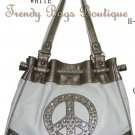 Beige PEACE Bling Rhinestones Hobo Shoulder Tote HandBag Purse