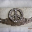 NWT Peace Cream/Bronze Rhinestone Wallet