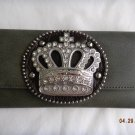 NWT Crown Gray/Dk Brown Rhinestone Wallet