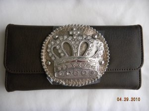 NWT Crown Dark Expresso Rhinestone Wallet