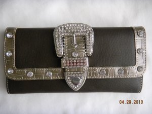 NWT Cowboy Belted Dark Brown Rhinestone Wallet