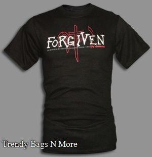 "NWT Christian ""FORGIVEN"" Mens/Boys Gray T-Shirt XL"