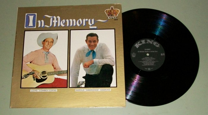 In Memory Cowboy Copas & Hawkshaw Hawkins w/ 8x10 Photos  KING 835 Record