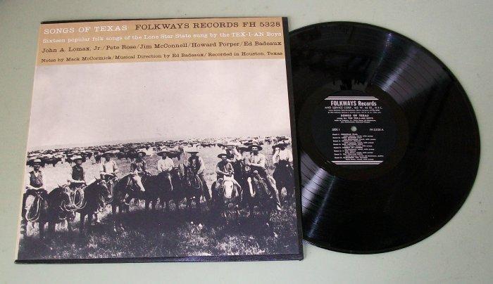 Songs Of Texas   16 Folk Songs By Tex-I-An Boys FH 5328