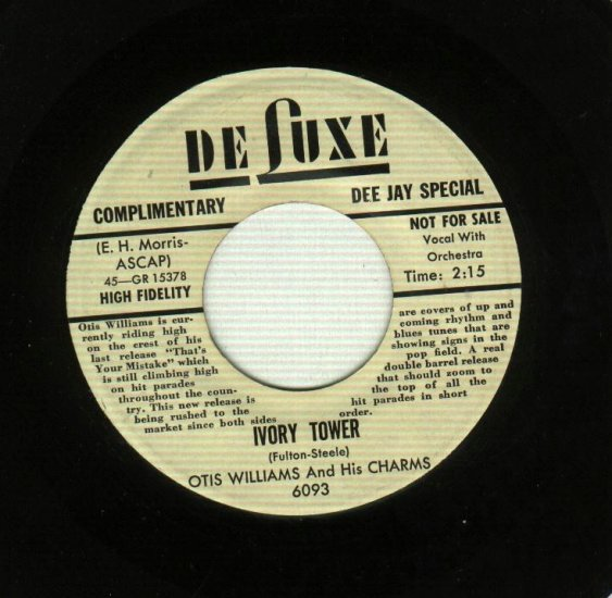 Otis Williams And His Charms - Ivory Towers - DeLUXE 6093 PROMO 45 rpm