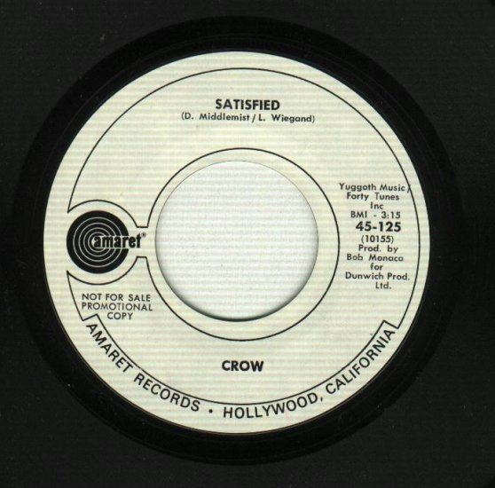 Crow - King Of Rock & Roll / Satisfied - PROMO 45 rpm Record