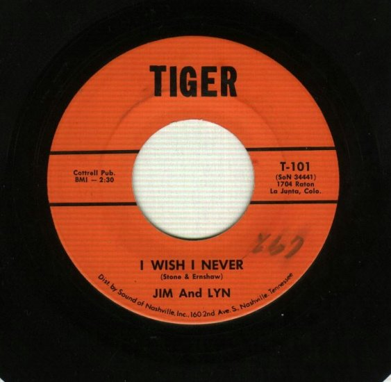 Jim And Lyn - I Wish I Never / So Called Friends - TIGER 101 Country 45 rpm Record