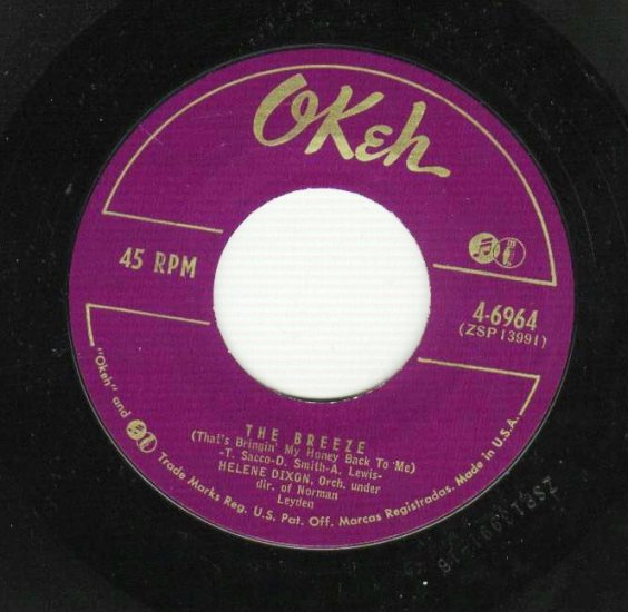 Helene Dixon - Don't Call My Name - OKEH 6964 - 45 rpm Record