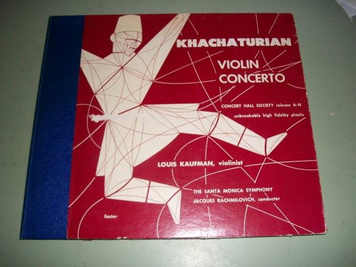 Khachaturian Violin Concerto Louis Kaufman 78 rpm - Record