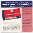 Elvis Presley  Save-On Records  Bulleton For June  RCA SPA-7-27    SUPER RARE PROMO  45 rpm EP