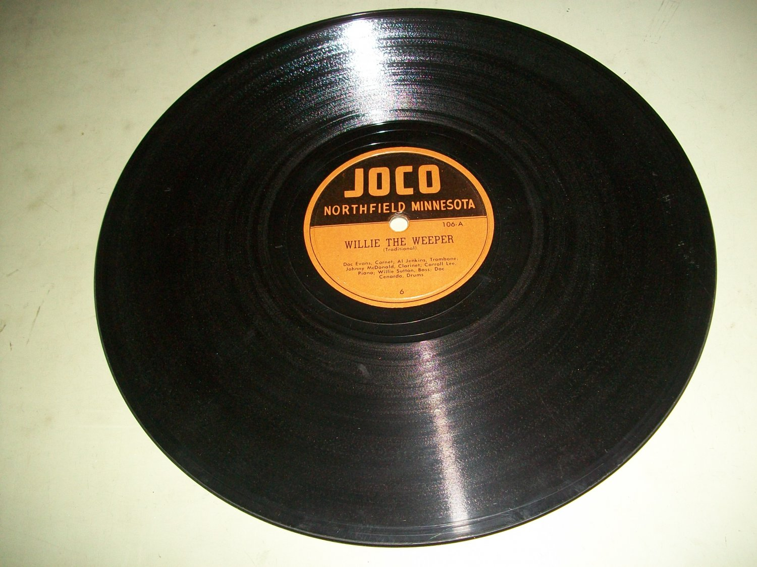 Doc Evans - Willie The Weeper - JOCO 106  - 78 rpm Jazz Record