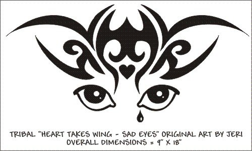 Heart Takes Wing Sad Eyes Vinyl Graphic Decal Sticker For Car, Truck Or Van
