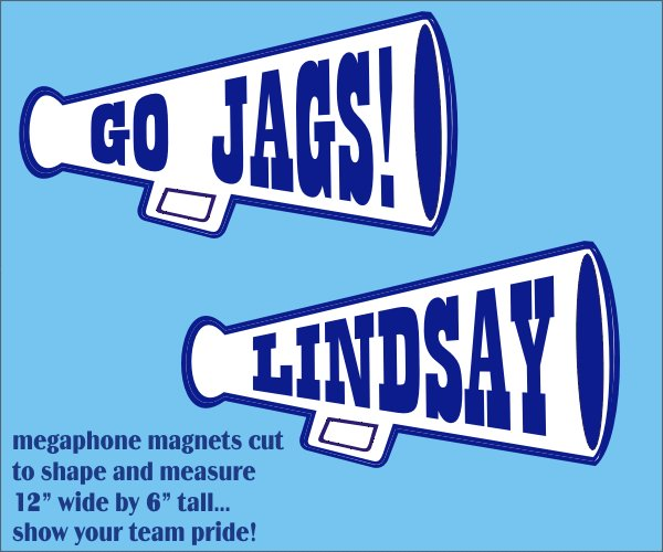 Personalized Pair of Megaphone Cheering Magnets