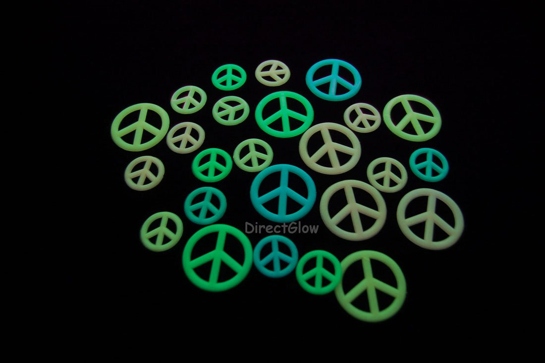 24 Piece Glow in the Dark Peace Signs