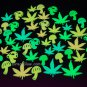 48 Piece Glow in the Dark Marijuana Weed Pot Leaves and Mushrooms
