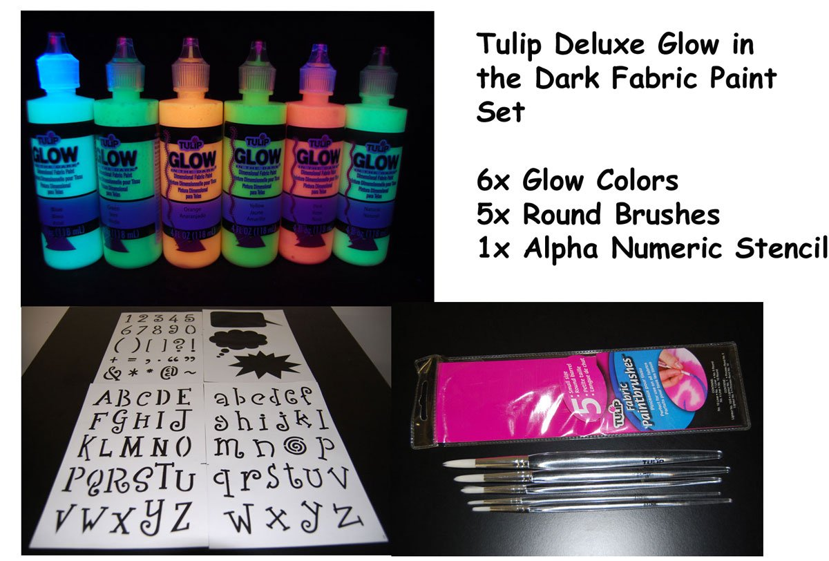 Tulip 4oz Deluxe Glow in the Dark Fabric Paint Combo Set