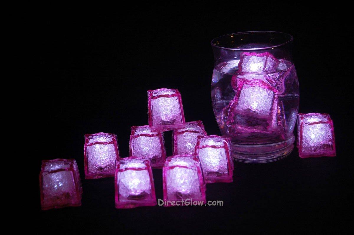 Set of 12 Litecubes Jewel Color Tinted Rose Pink Light up LED Ice Cubes