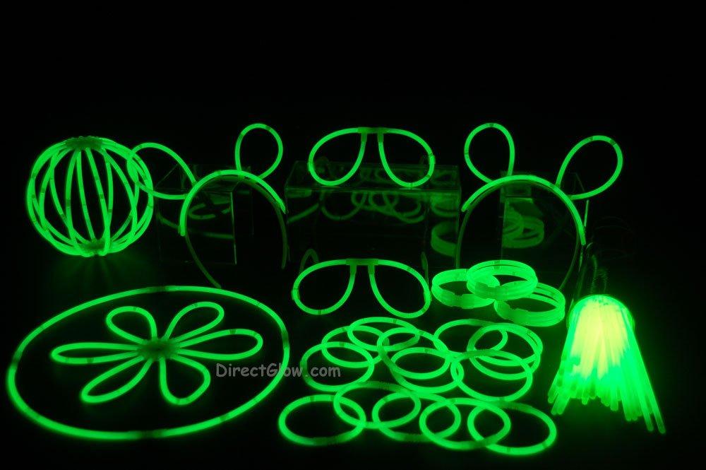 "100- 8"" Green Glow Stick Bracelets Party Pack"