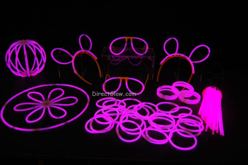 """100- 8"""" Pink Glow Stick Bracelets Party Pack"""