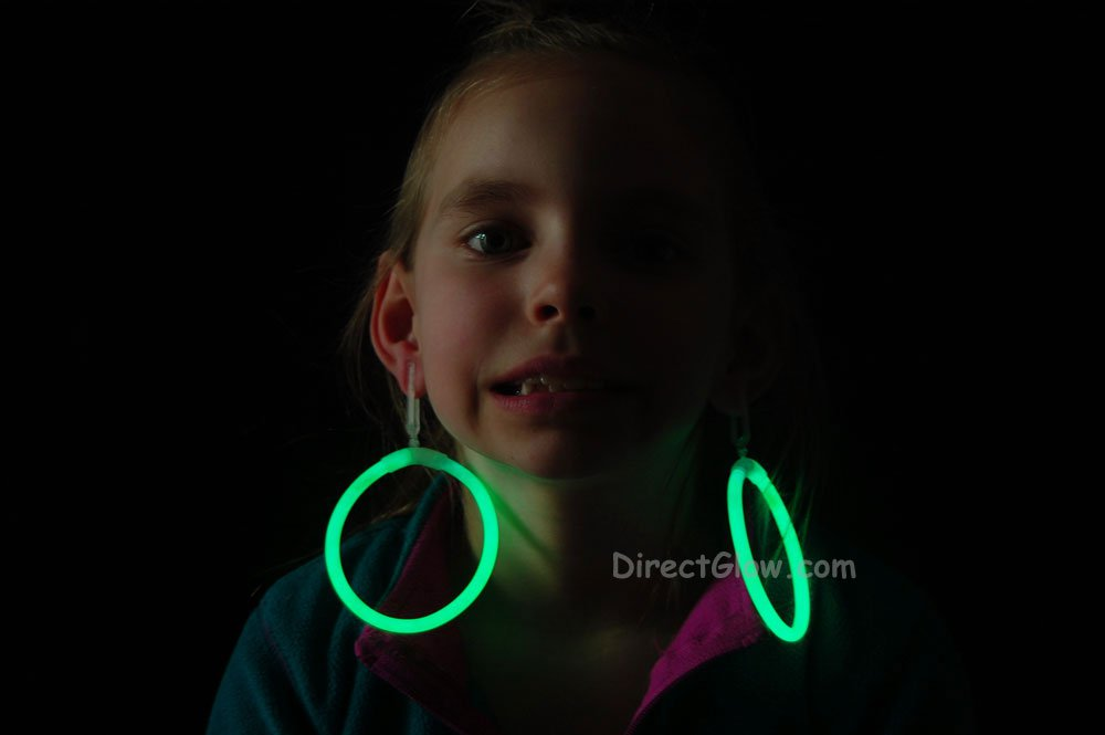 Green Glow Stick Clip On Hoop Earrings and Bracelets- 50 Pairs