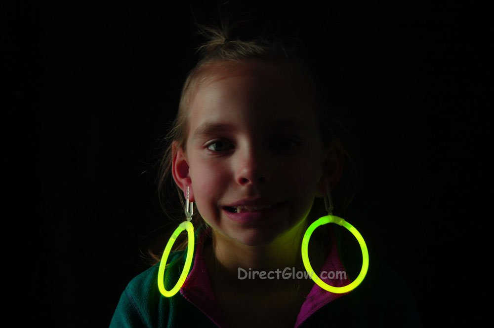 Yellow Glow Stick Clip On Hoop Earrings and Bracelets- 50 Pairs