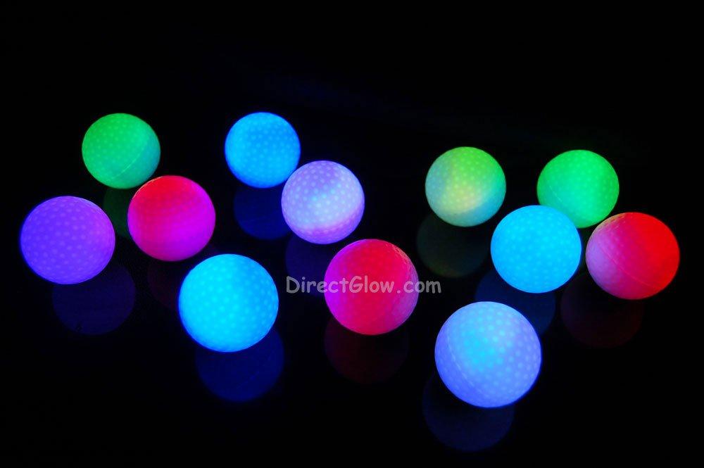 Set of 12 Litecubes Brand RAINBOW Light up LED Golf Balls (Drink Novelty)