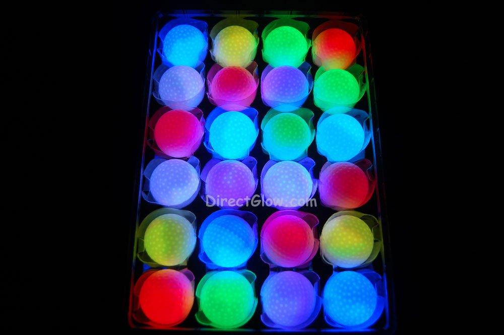 Set of 24 Litecubes Brand RAINBOW Light up LED Golf Balls (Drink Novelty)