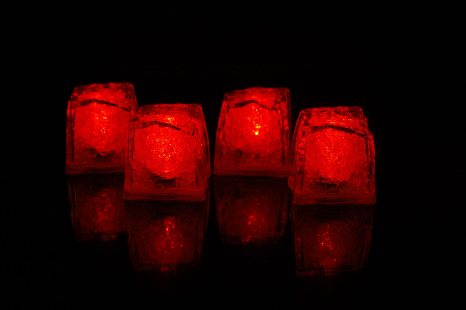 Set of 4 Litecubes  Brand Jewel Color Tinted Ruby Red Light up LED Ice Cubes