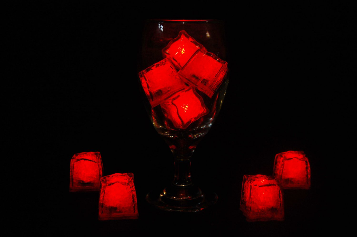 Set of 8 Litecubes  Brand Jewel Color Tinted Ruby Red Light up LED Ice Cubes