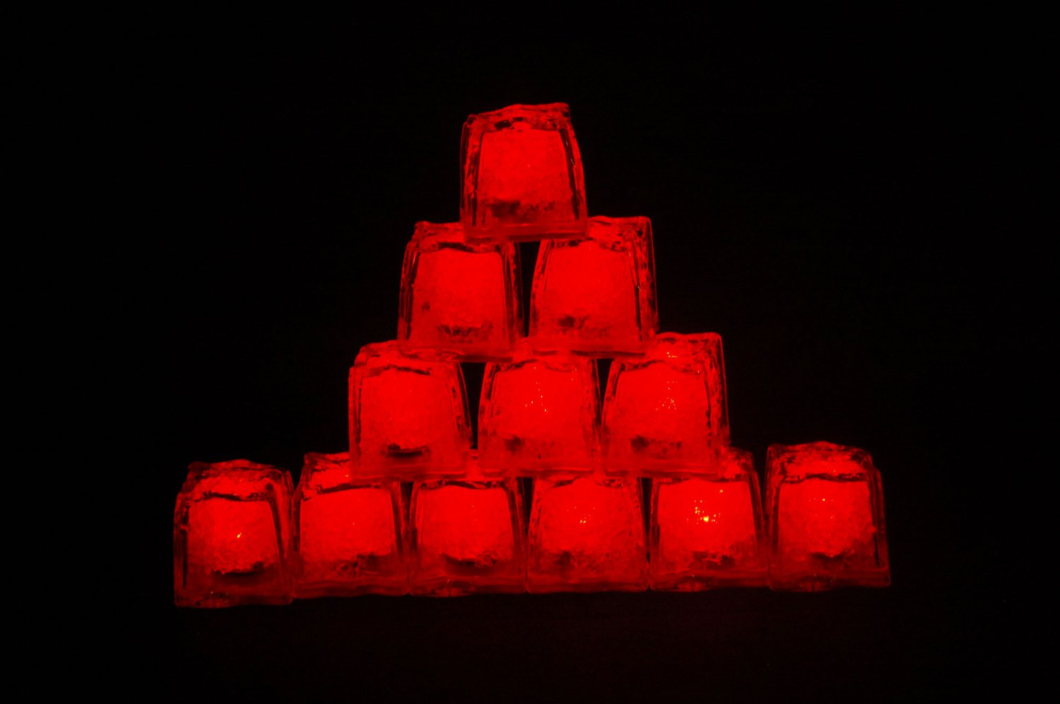 Set of 12 Litecubes  Brand Jewel Color Tinted Ruby Red Light up LED Ice Cubes