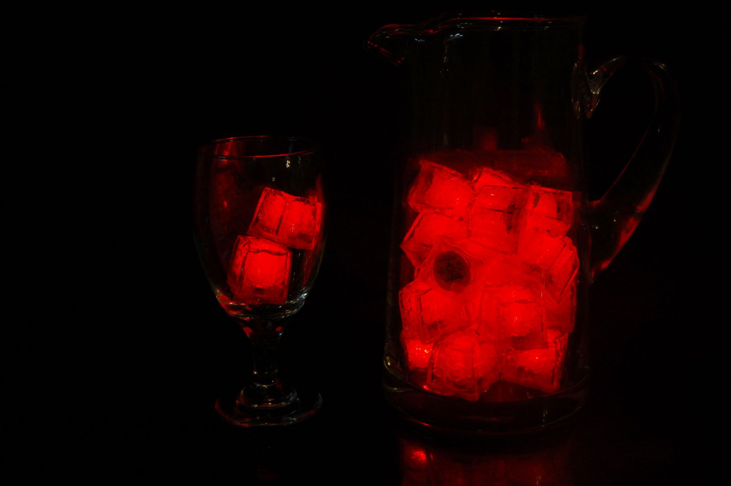 Set of 24 Litecubes  Brand Jewel Color Tinted Ruby Red Light up LED Ice Cubes