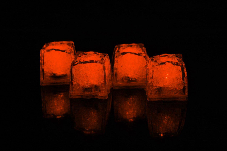 Set of 4 Litecubes  Brand Jewel Color Tinted Amber Orange Light up LED Ice Cubes