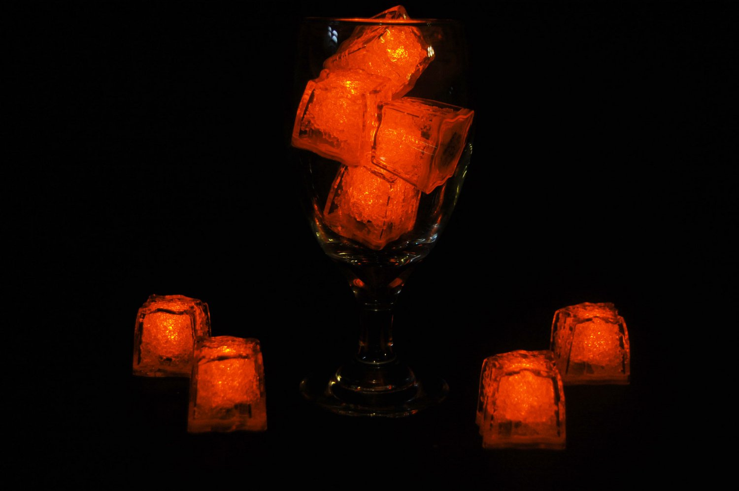 Set of 8 Litecubes  Brand Jewel Color Tinted Amber Orange Light up LED Ice Cubes