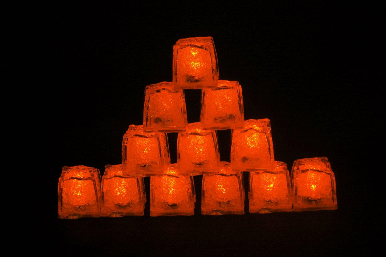 Set of 12 Litecubes  Brand Jewel Color Tinted Amber Orange Light up LED Ice Cubes