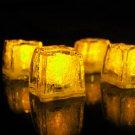 Set of 4 Litecubes  Brand Jewel Color Tinted Topaz Yellow Light up LED Ice Cubes