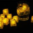 Set of 12 Litecubes  Brand Jewel Color Tinted Topaz Yellow Light up LED Ice Cubes