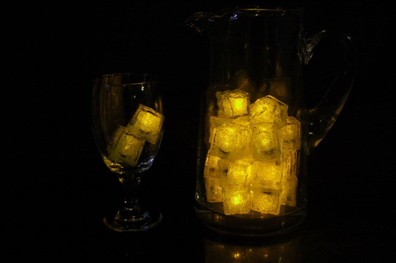 Set of 24 Litecubes  Brand Jewel Color Tinted Topaz Yellow Light up LED Ice Cubes