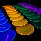 Assorted Neon Blacklight Reactive 7.5 Inch Sturdy Plastic Party Plates - 40 pack
