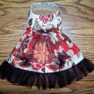 Vintage Rose Brown Rust Dog Clothes: Dress / Hairbow - Sz Med, Sm, XS or XXS