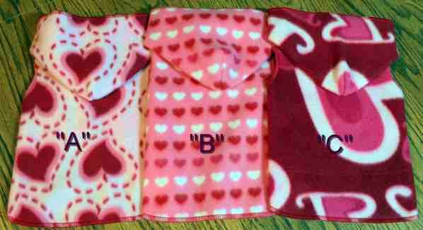 Valentine Heart Dog Clothes Snuggly XXS, XS or SM (Med)